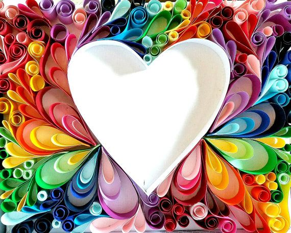 Rainbow Heart Paper Quilling 12 X 9 Paper Crafts Quilling