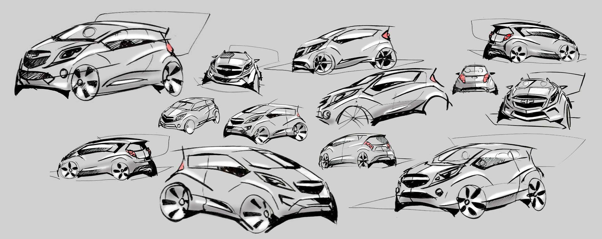 Design of car model - Chevrolet Spark Design Sketches
