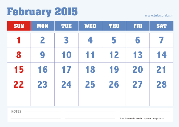 Download February 2015 Calendar With Notes Template Design Cute