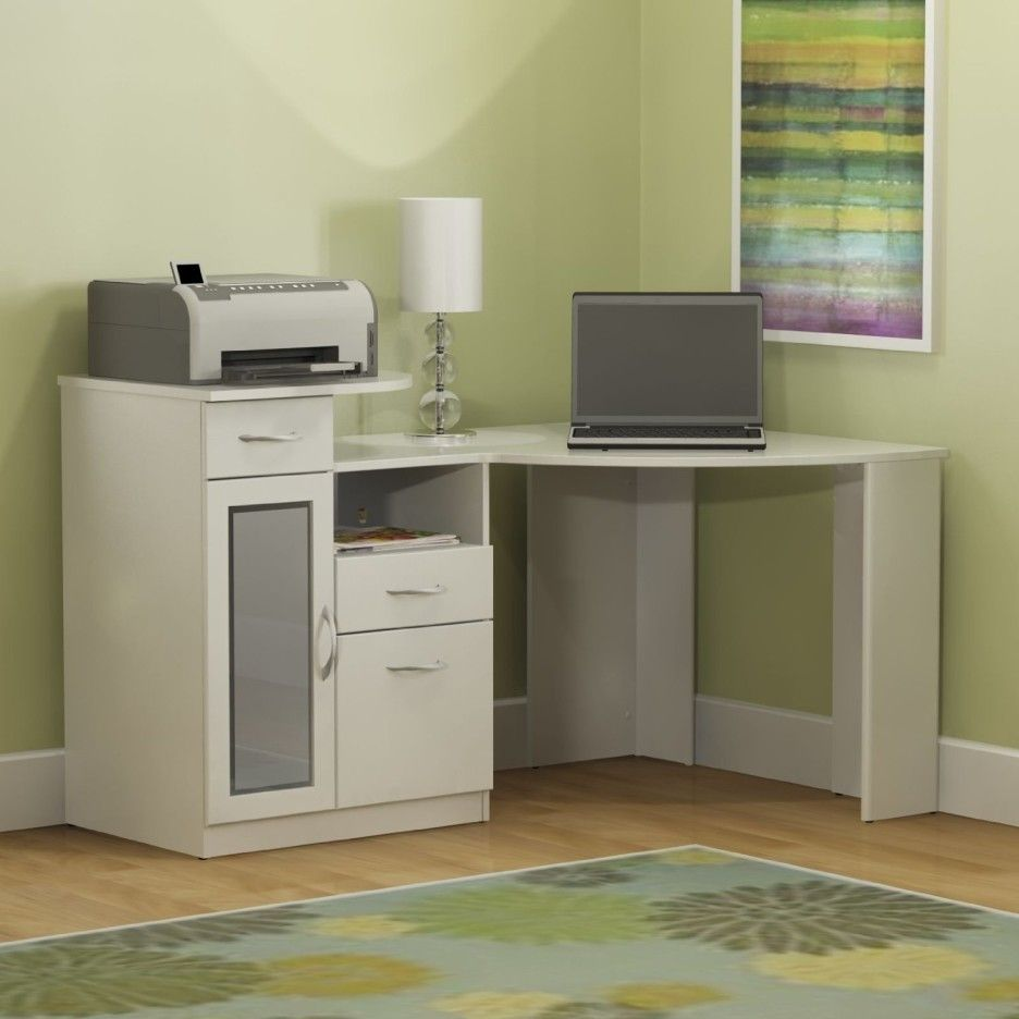 White painted wooden corner computer desk decor with shaded table