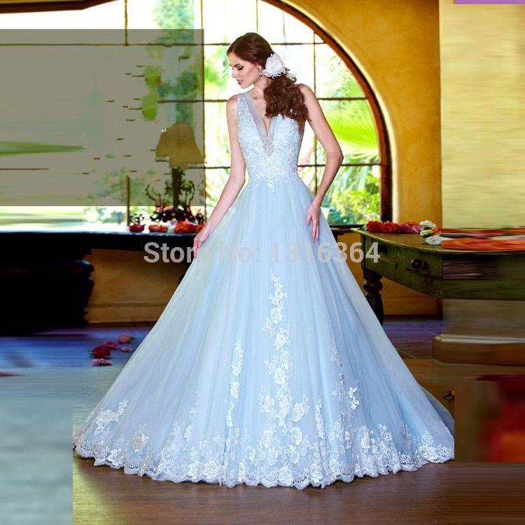Special Charming Ice Blue Wedding Dresses Sexy Deep V Neck Sleeveless A Line Court