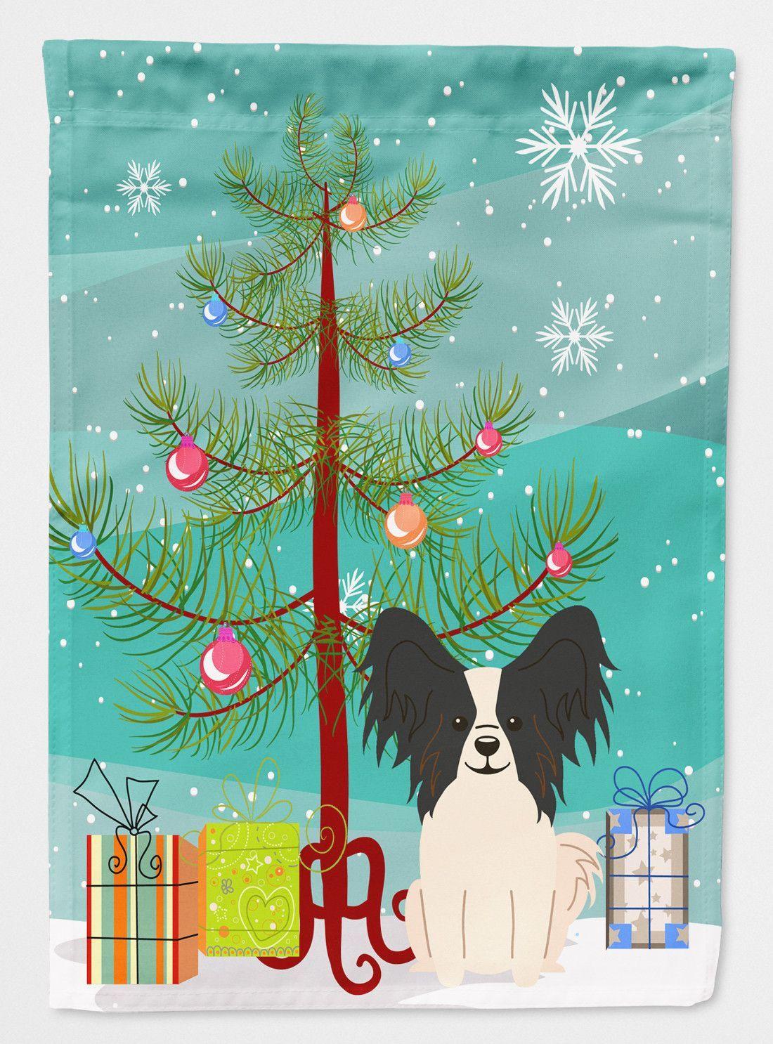 Merry Christmas Tree Papillon Black White Flag Garden Size BB4201GF