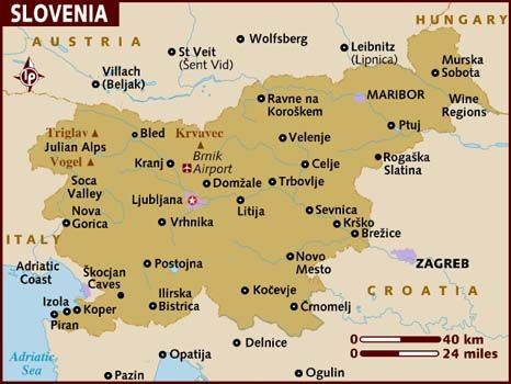 Located In The Heart Of Europe Where The The Alps Meet The Mediterranean And The Pannonian Plains Meet Karst Slovenia Is Bordered Map Of Slovenia Slovenia Map