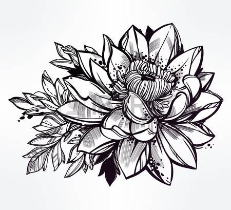 Lotus Flower Tattoo Designs Vector Set Of Hand Drawn Lotus Flower