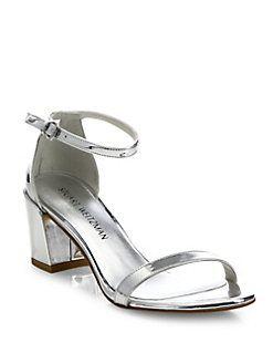 Stuart Weitzman - Simple Metallic Block-Heel Sandals | Shoes 2017 ...