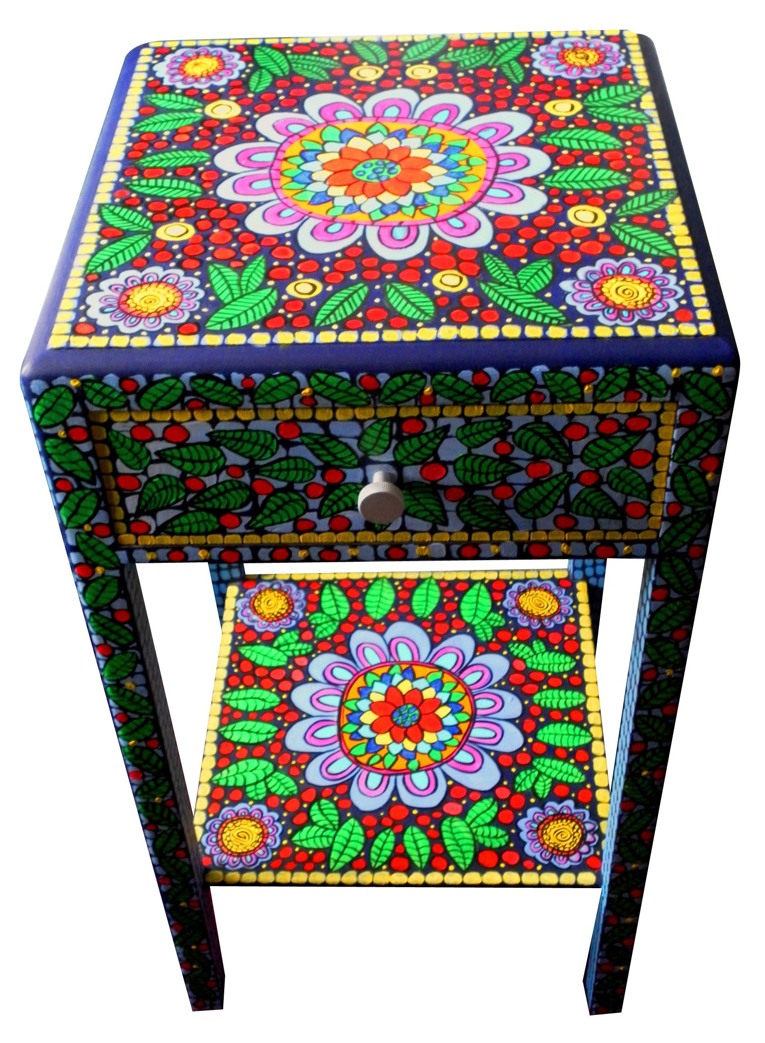 Handpainted Side Table Round Mandala Square Table Painted