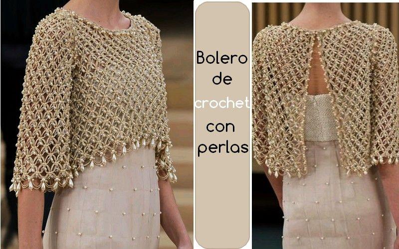 Bolero de crochet adornado con perlas   blusa   Pinterest ...