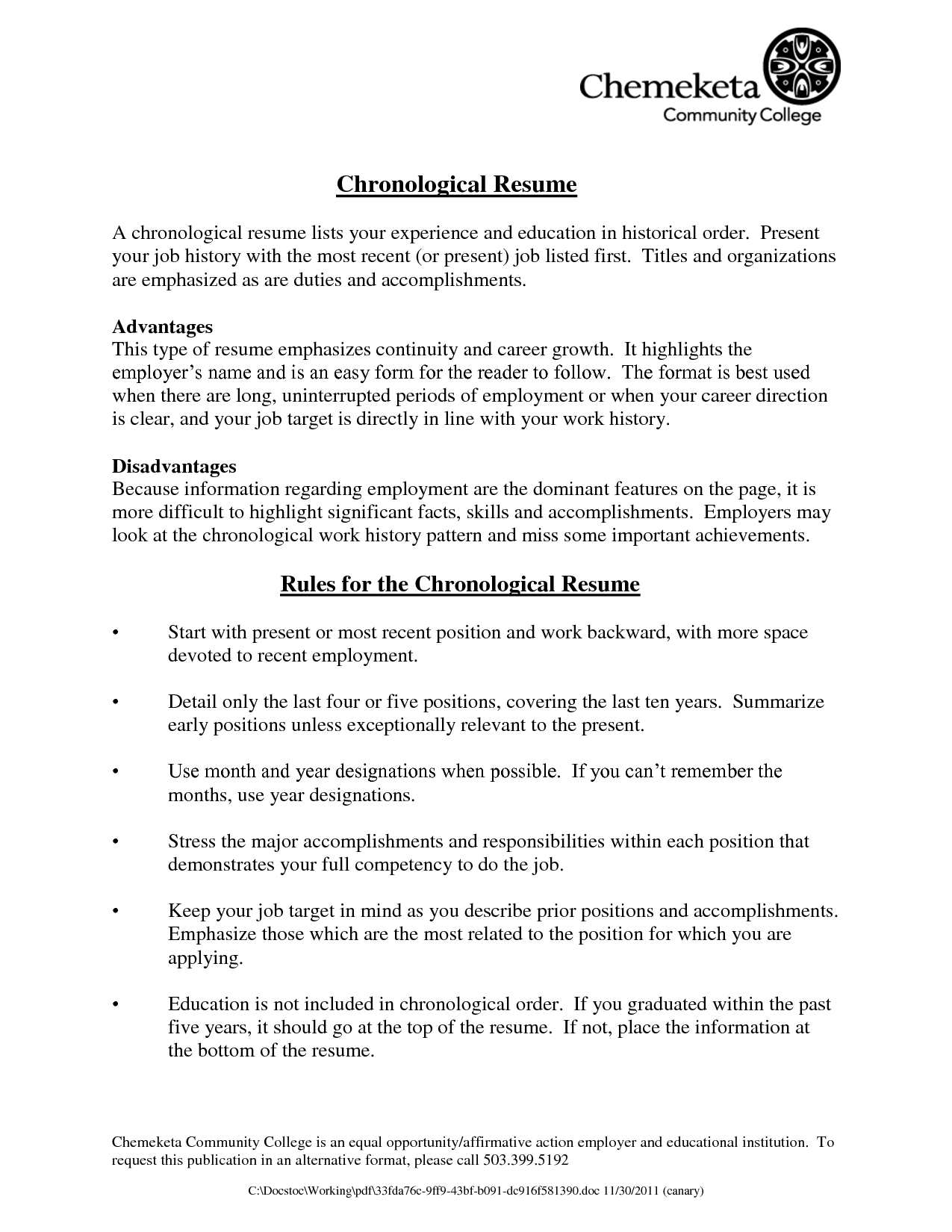 Examples Of A Chronological Resume Chronological Resume Picture Cover Latter Sample Chronological