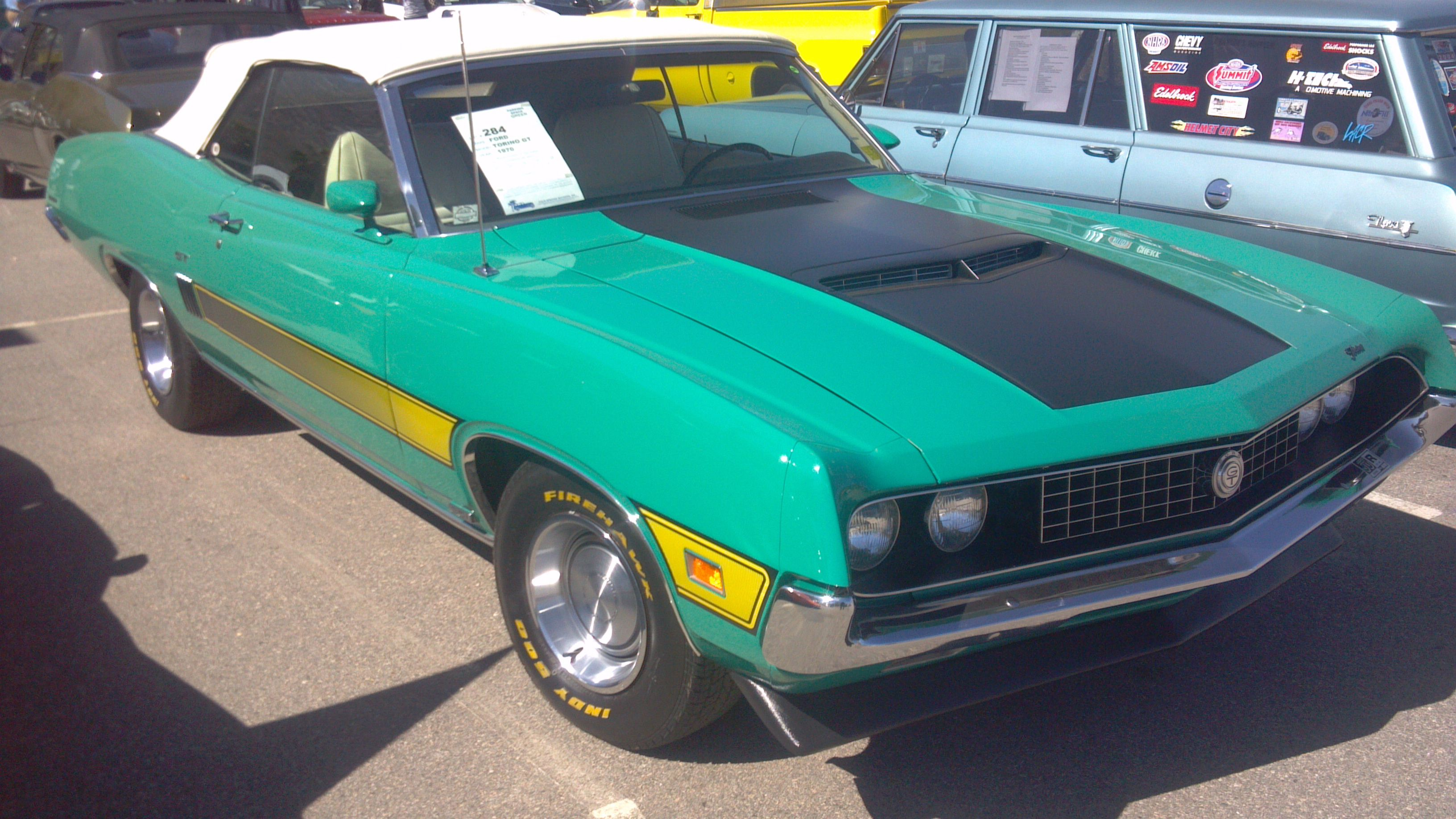 1970 Ford Torino Gt Convertible In Grabber Green Laser Stripes