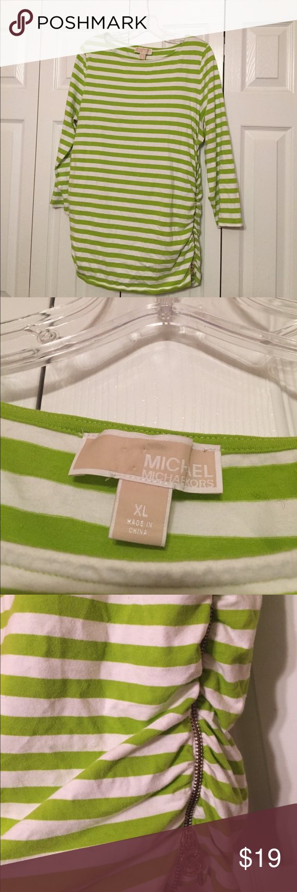 Michael Michael Kors Blouse Green white stripe ruched sides zipper opening on left side. Long sleeve MICHAEL Michael Kors Tops Tees - Long Sleeve