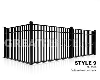 Residential Aluminum Fence Panel Style 9 With 3 Rails