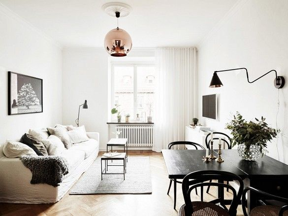 Scandinavian Interior Design Will Always Be In How To Get The Look Here Living Room Dining Room Combo Living Dining Room Dining Room Combo