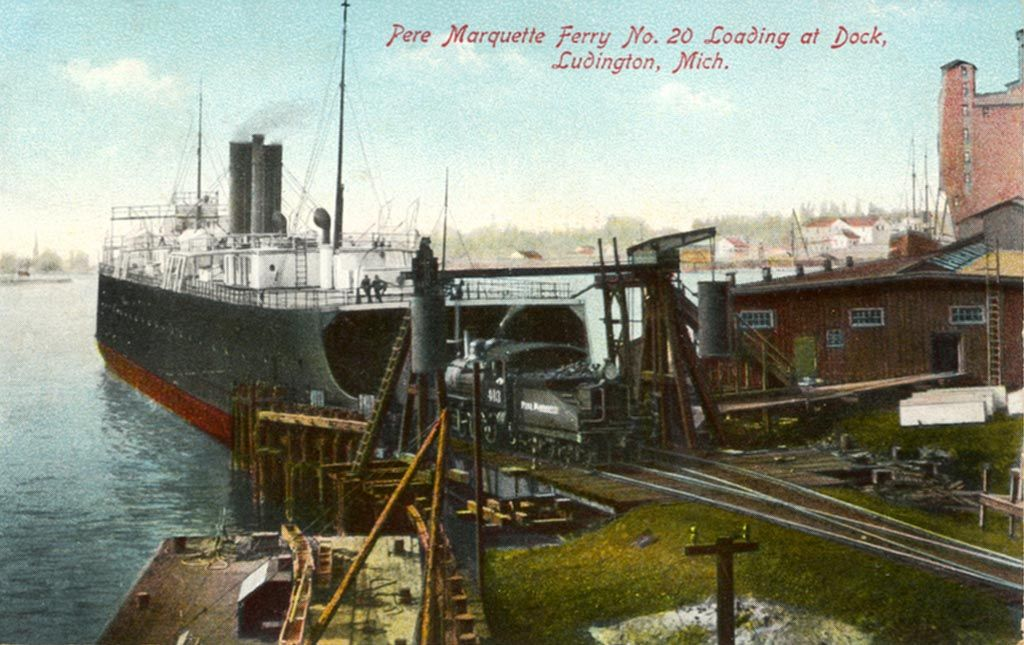 Pere Marquette Ferry 20 loading at the docks in Ludington