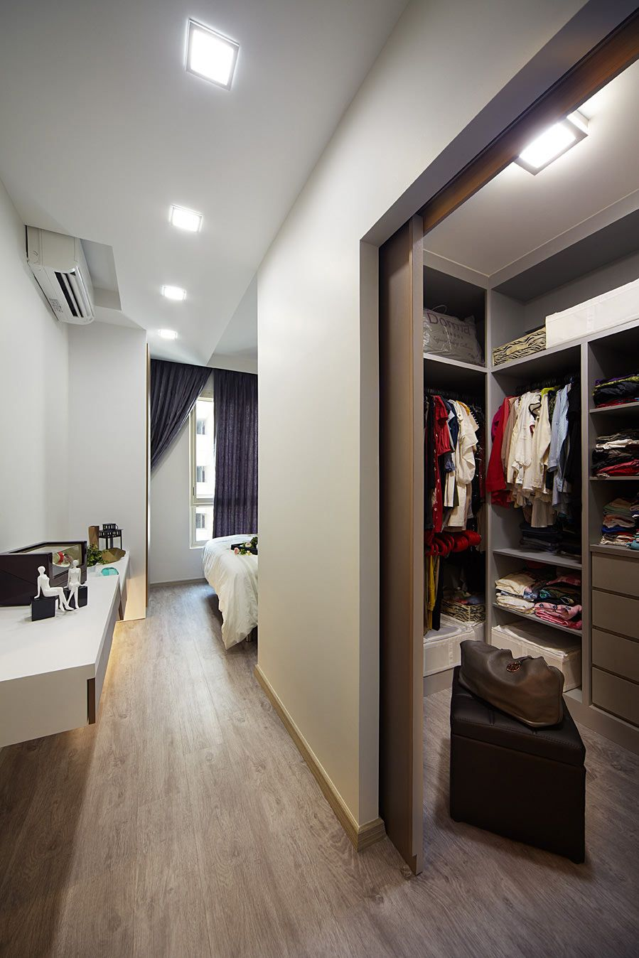 A walkin closet located just behind the master bedroom