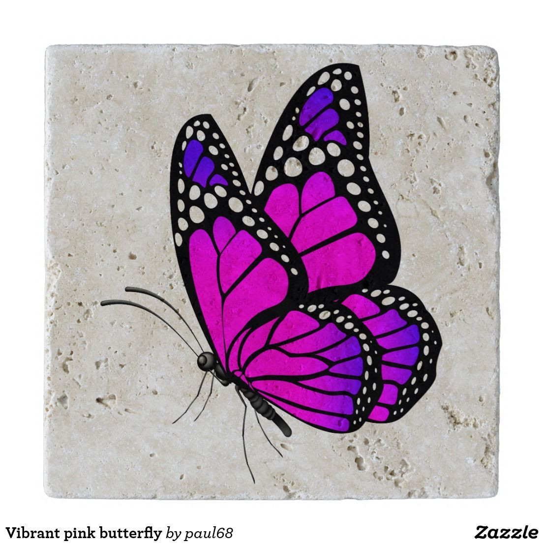 Vibrant pink butterfly trivet in 2020 Butterfly drawing