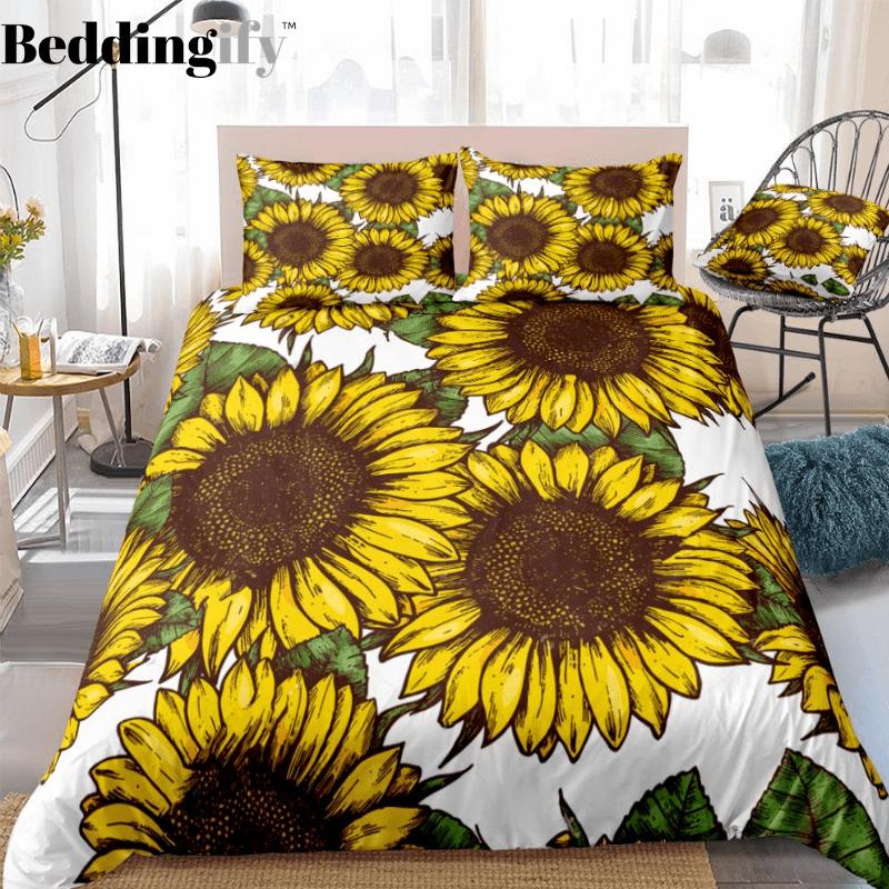 Hippie Sunflowers Bedding Set In 2020 Duvet Cover Sets Queen