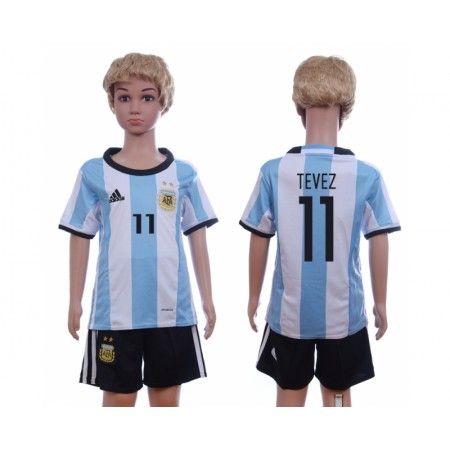 Argentina Trøje Børn 2016 #Tevez 11 Hjemmebanetrøje Kort ærmer.199,62KR.shirtshopservice@gmail.com
