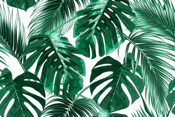 Tropical Leaves Vector Pattern Vector Pattern Wallpaper