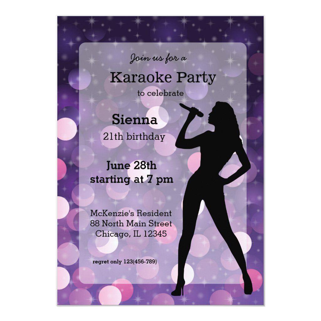 Karaoke Party Invitation Zazzle Com In 2021 Karaoke Party Party Invitations Movie Party Invitations