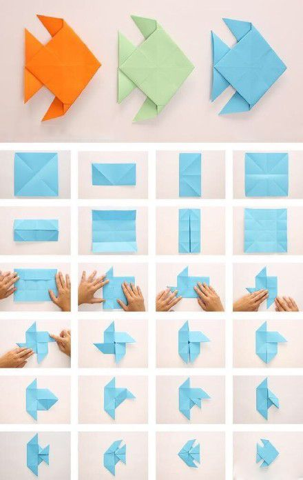 Paper Folding Fish Origami Children Manual Idea Origami