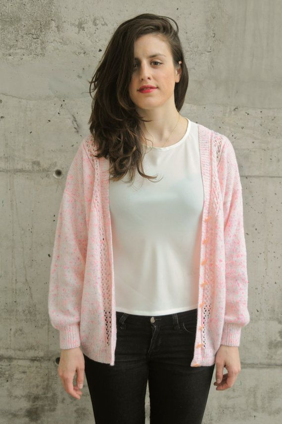 Speckled Pink Cardigan / Oversized Button Up Sweater / Pastel ...