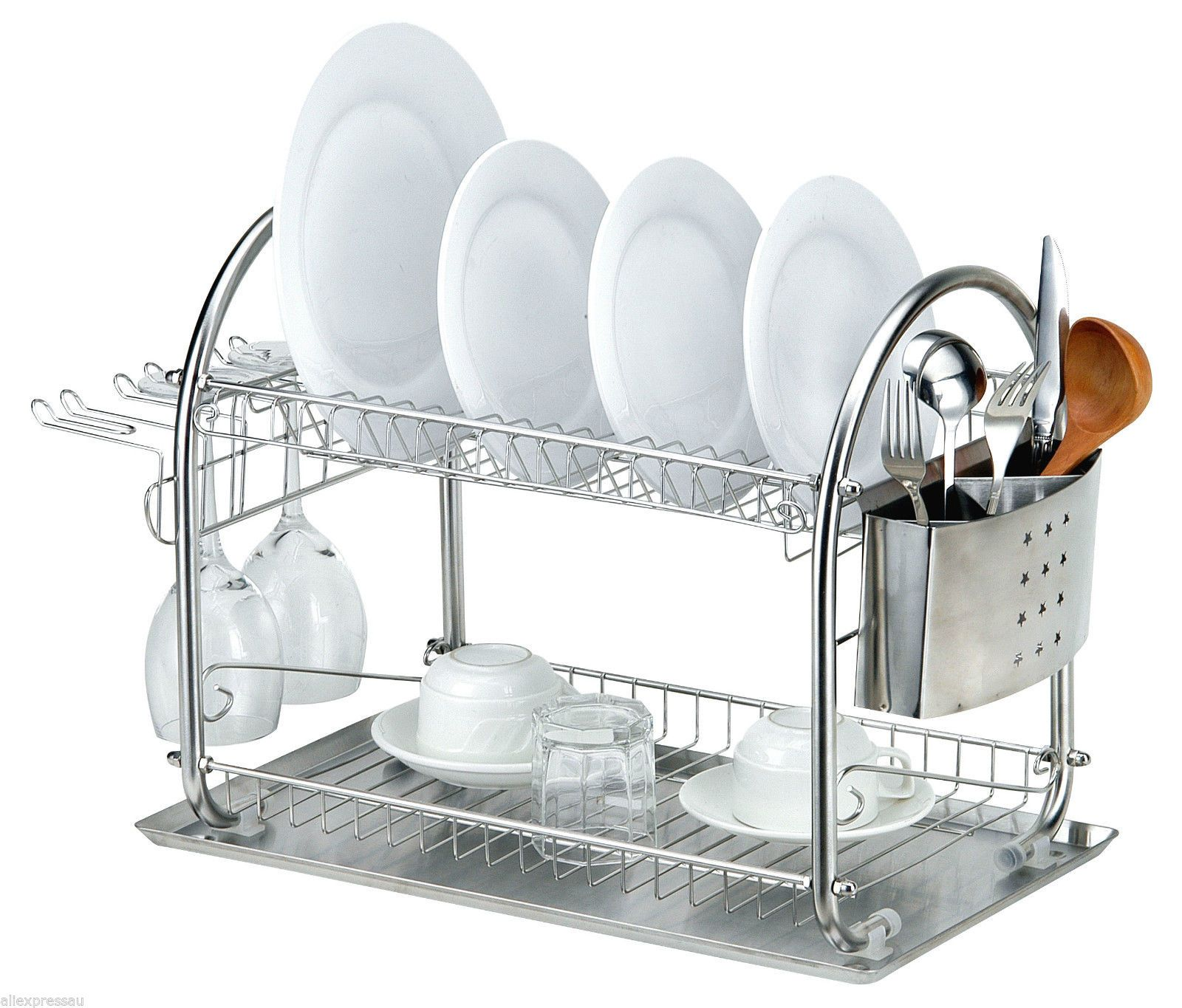 Kitchen Stainless Steel Dish Drying Rack Cutlery Drainer Dryer Tray