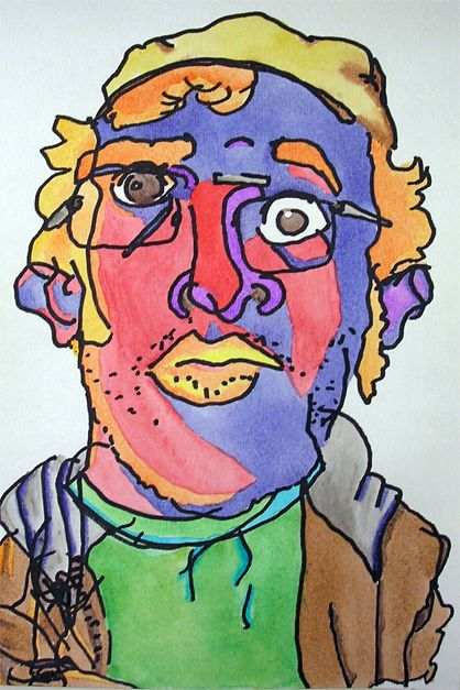 Contour Line Drawing Projects : Blind contour line portrait art lessons drawing