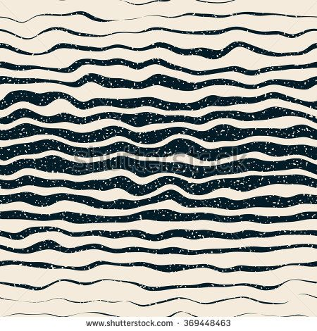 Vector Seamless Navy White Horizontal Hand Drawn Distorted Lines Retro Grunge Pattern Abstract Background