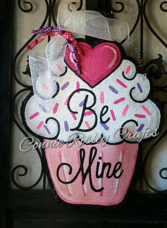 Valentine S Day Cupcake Burlap Door Hanger Decoration And