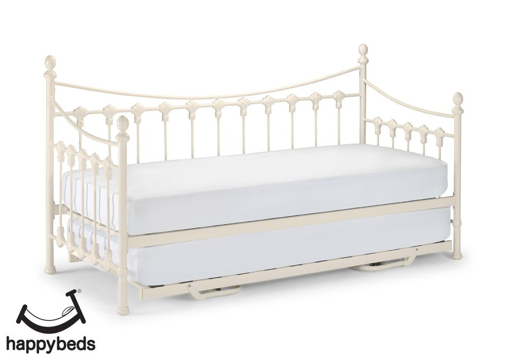 Versailles Stone White Metal Guest Day Bed And Trundle 3ft Single In 2020 Single Bed Frame Single Day Bed Daybed With Trundle