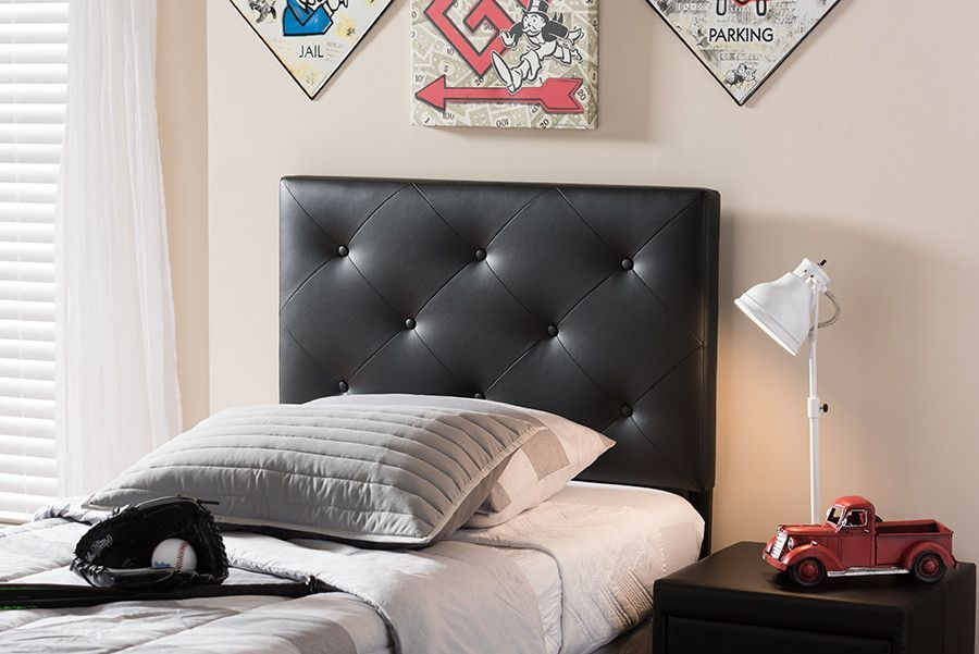 Baxton Studio Baltimore Black Upholstered Twin Size Headboard