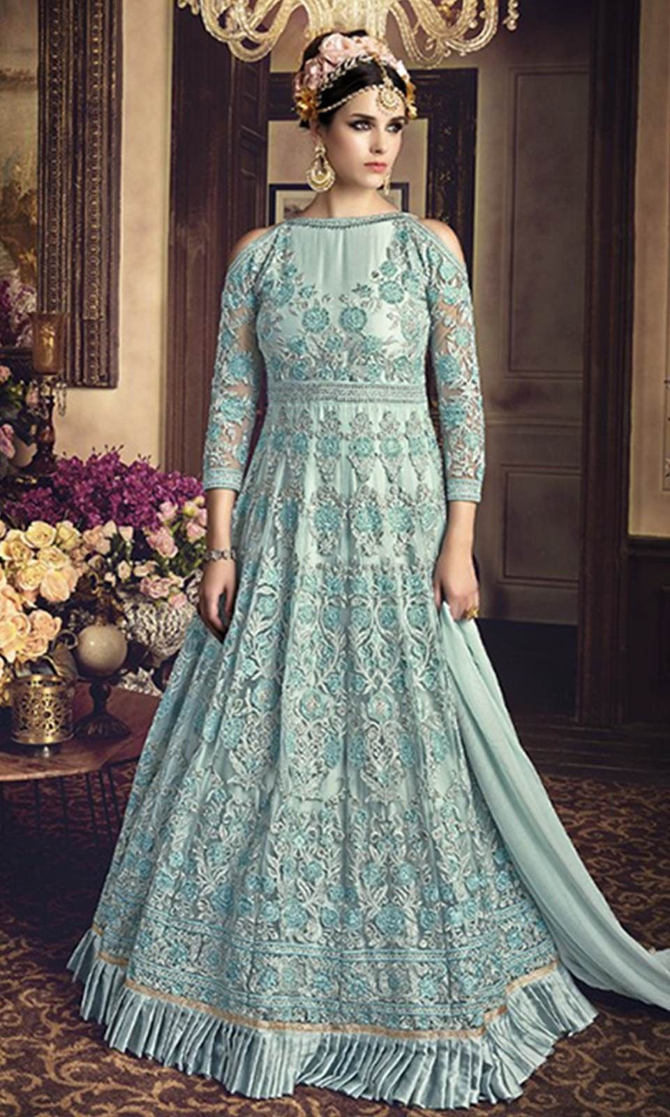 85aa0a05665feb Buy online #Turquoise Floor Touch #AnarkaliSuit (SKU Code : SUEBRSYB107) at  Ishimaya Fashion.