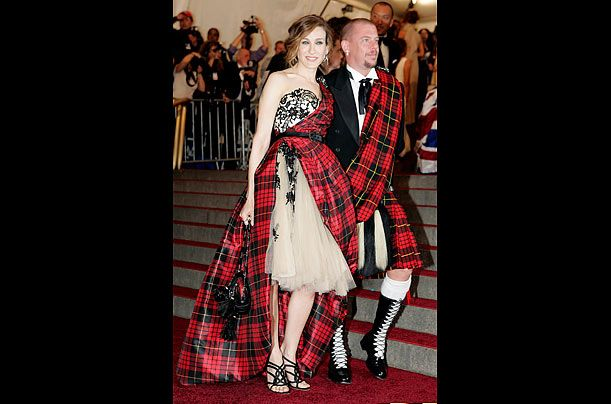"""The 2006 gala was all about """"Anglophilia,"""" and style icon Sarah Jessica Parker chose a gown by her close friend, British designer Alexander McQueen. The memorable frock was half lace and tulle, half tartan explosion, and completely unique."""