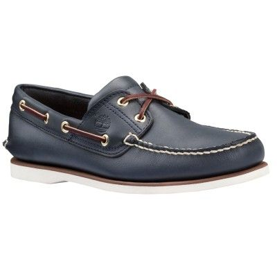 Sapato Timberland Men's Classic 2 Eye Boat Shoe Navy Smooth #Sapato # Timberland