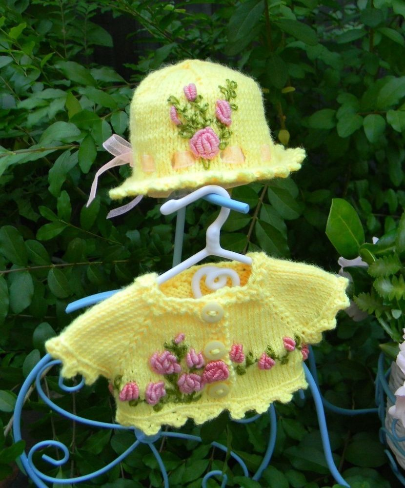"Yellow  Embroidered Sweater and Hat fits 13"" Effner Little Darling"