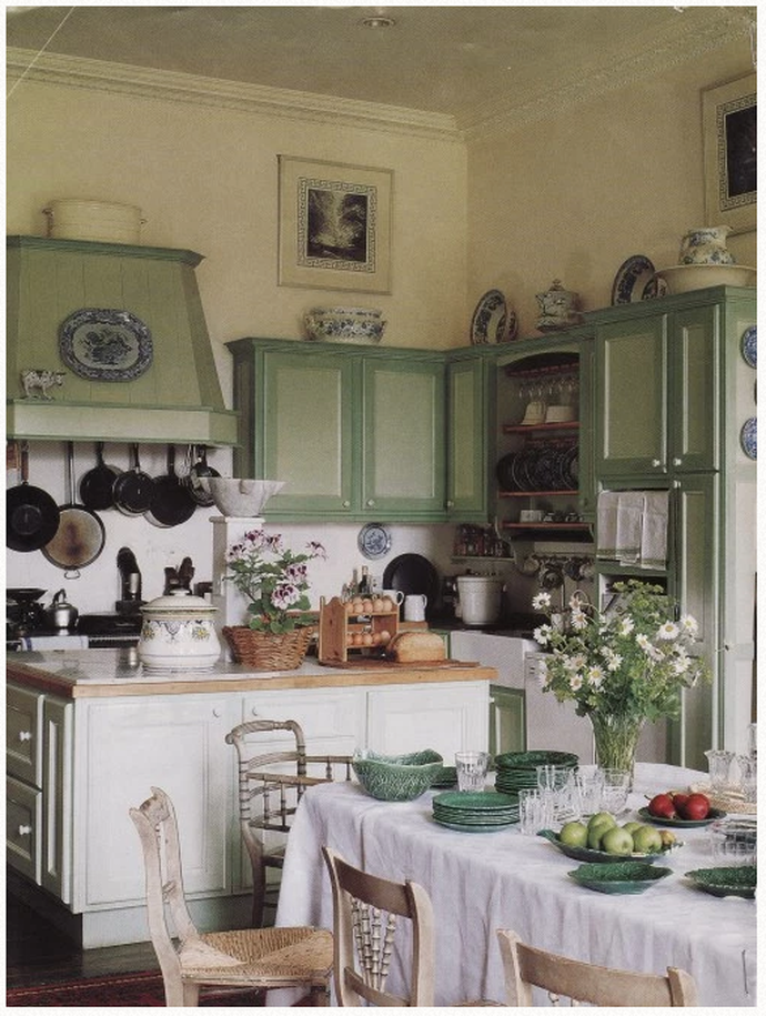 english country kitchen, english cottage kitchen, plain english kitchen, painted cabinets, painted wooden knobs, blue and white porcelain, blue and white china, tablecloth, mismatched chairs, #plainenglishkitchen