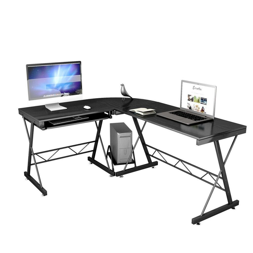 New L Shaped Desk Office Computer Corner Desk With Keyboard Tray