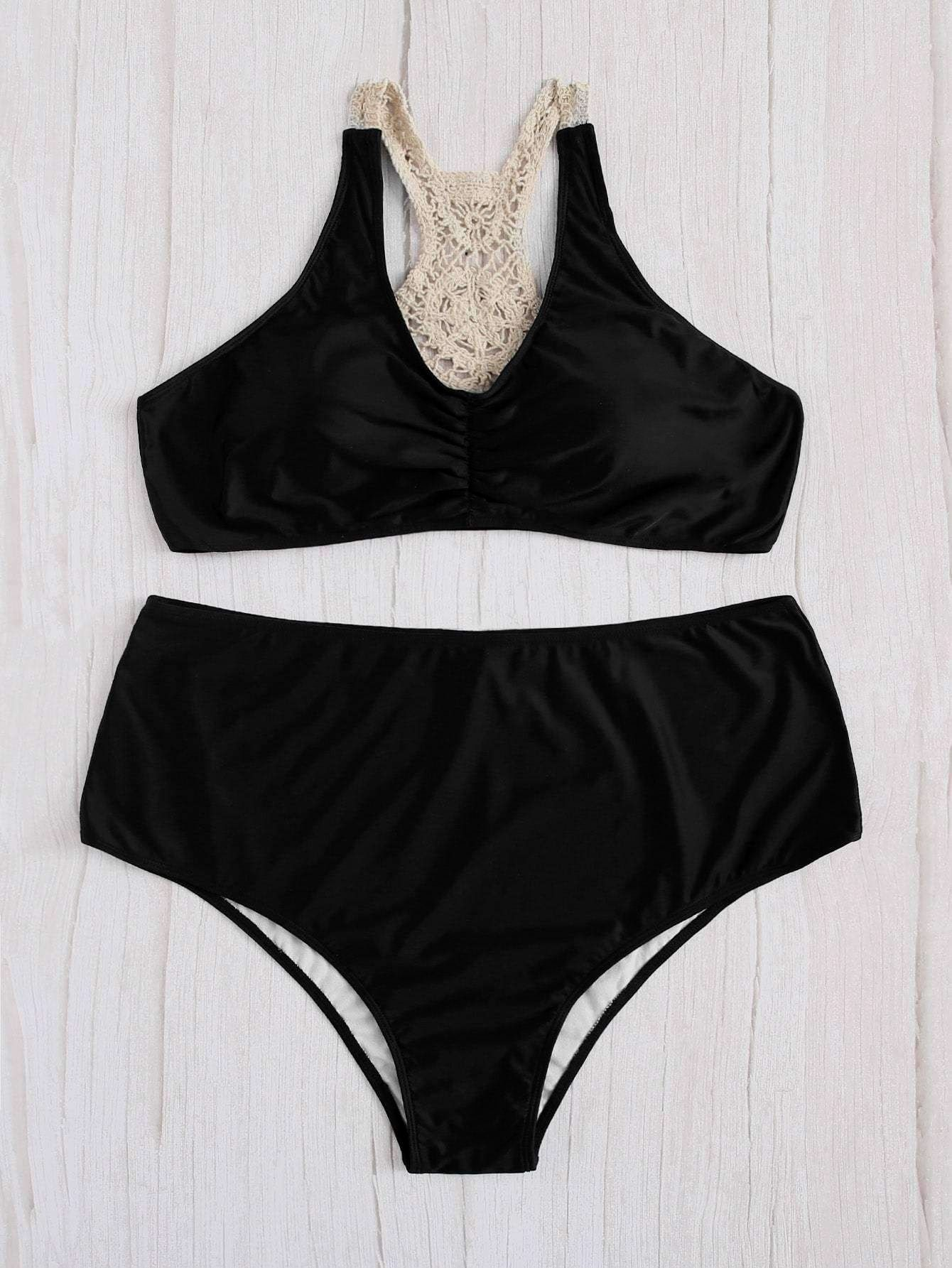 Plus Size Black Crochet Back Top Two Piece Bikini