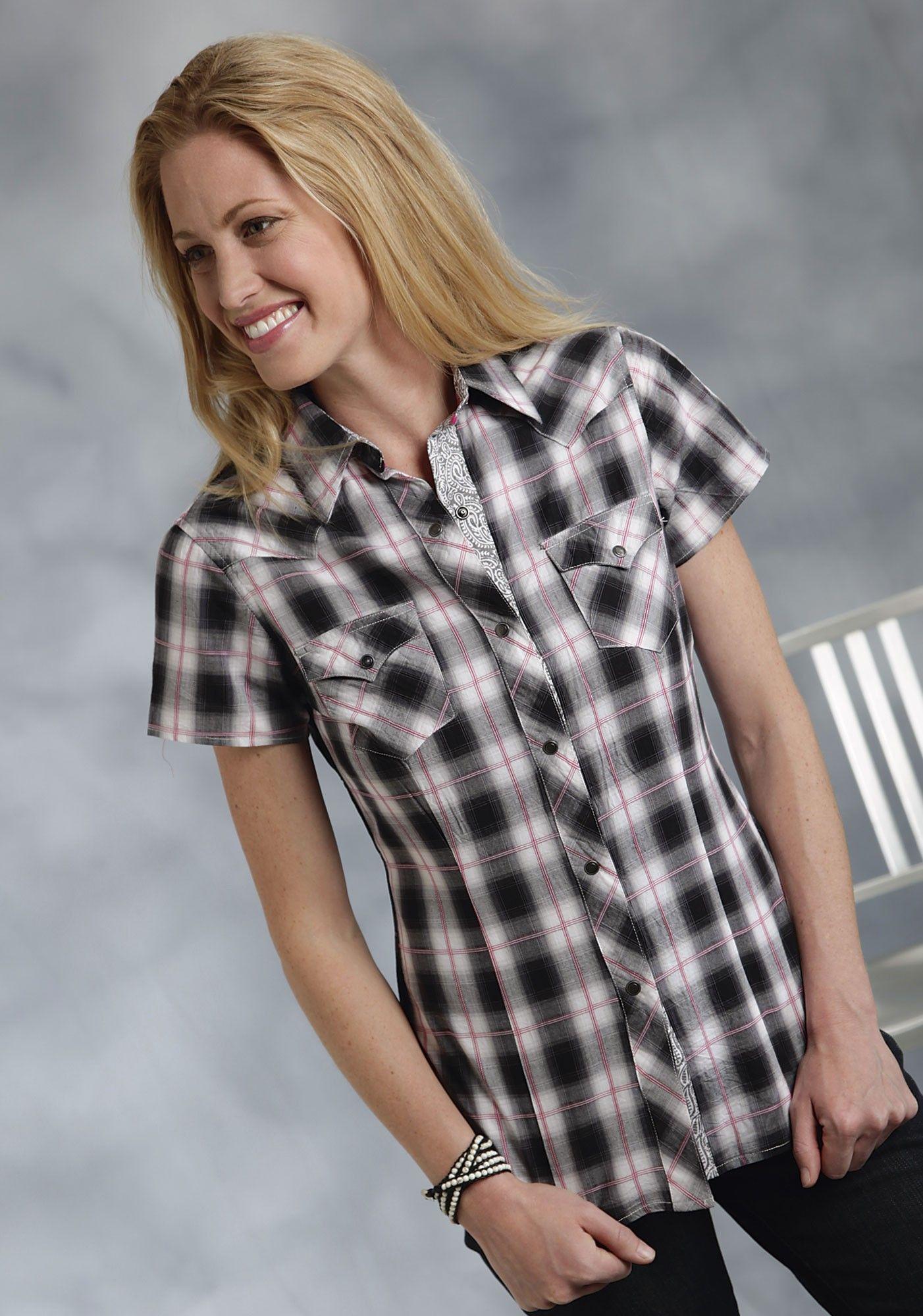 Roper® Women's Black and White Short Sleeve Snap Western Shirt ...