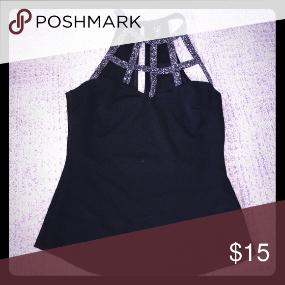 Black sparkly tank top Black high neck tank with cut outs. Never been worn, no tags Tops Tank Tops