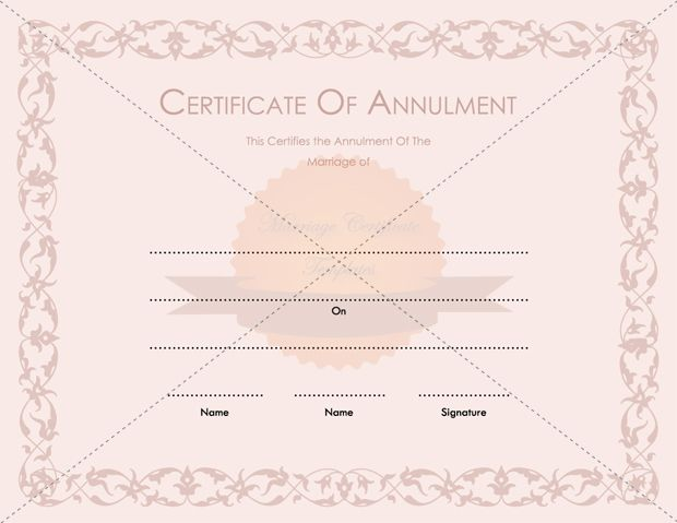 Printable Marriage Annulment Certificate Template - blank divorce decree