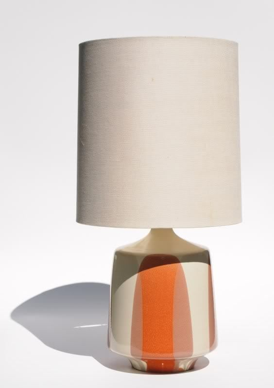 Midcentury Ceramic Table Lamp Orange Beige
