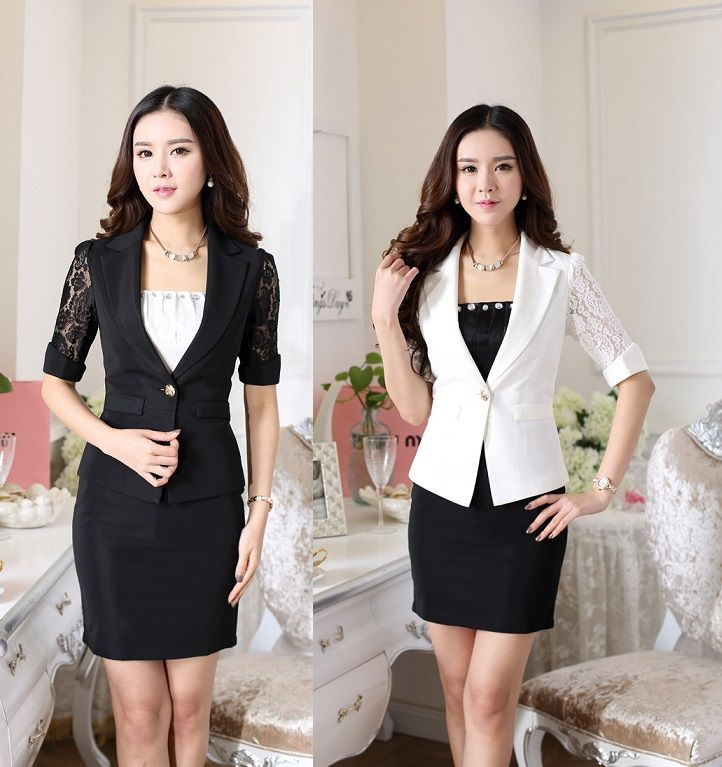 Spring Summer 2015 Female Office Suits Jackets And Skirt Uniform Design  Ladies Work Blazers Clothing Set