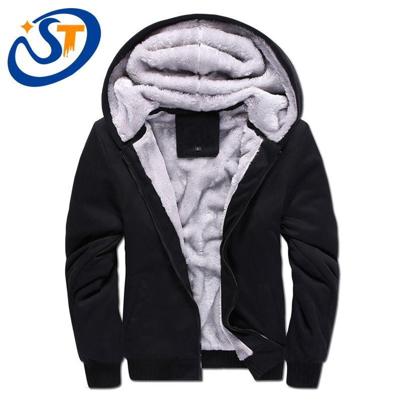 Winter Men Hooded Sweatshirt Velvet Thickening Zipper Coat Jacket Sport Outwear