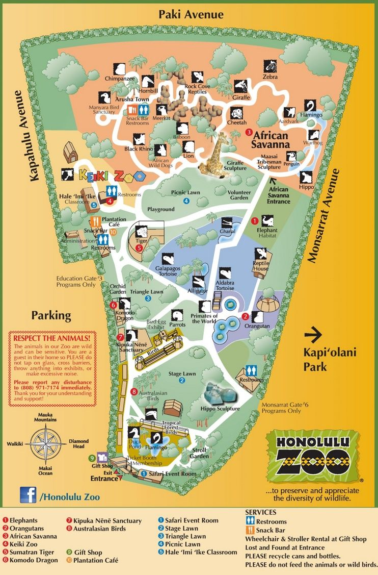 Honolulu Zoo map See Oahu Pinterest Honolulu zoo Zoos and Hawaii