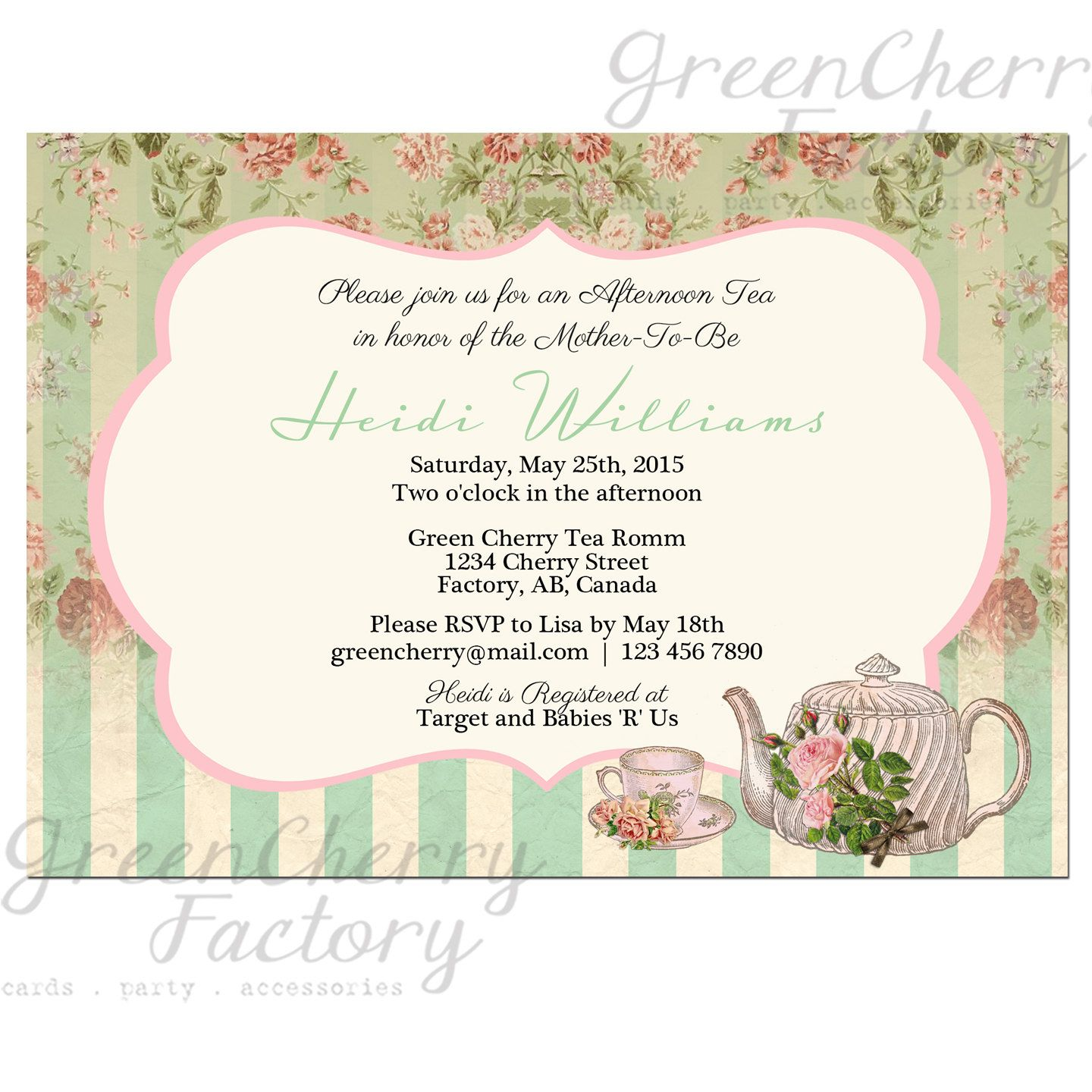Invitation Card. Party Invitations Templates Afternoon Tea Cute ...