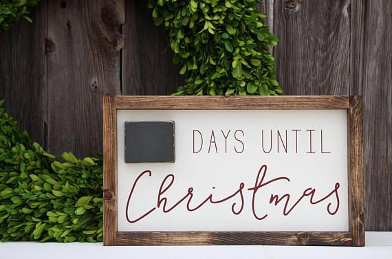 Days until Christmas wood sign, Christmas wood sign, Christmas