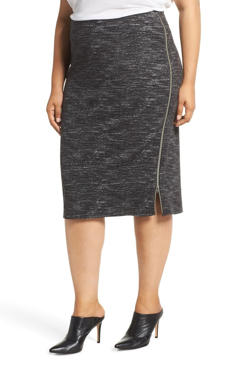 0a1ed9b02 Free shipping and returns on Halogen® Side Zip Ponte Pencil Skirt (Plus  Size) at Nordstrom.com. An exposed zip at the side accentuates the smooth,  ...