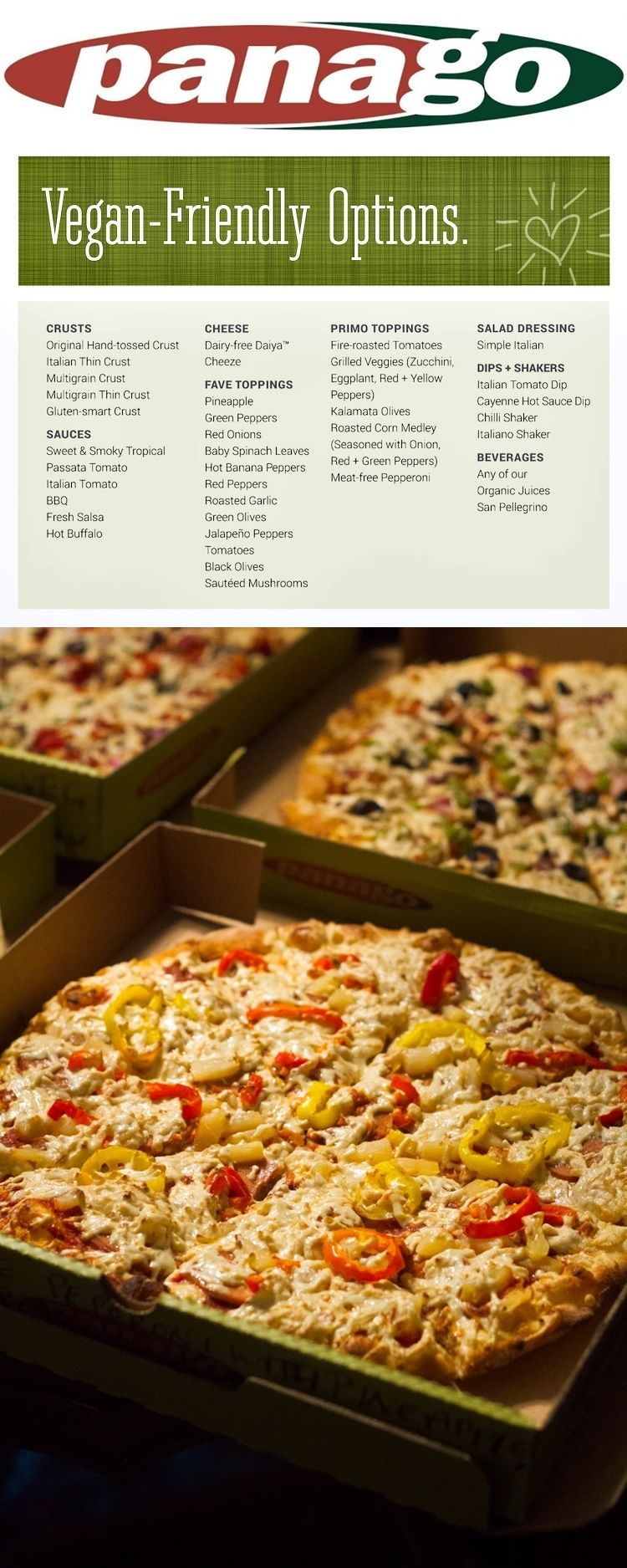 Panago Pizza Offers A HUGE List Of Vegan Menu Options Including Dairy Free Cheese Meatless Pepperoni Gluten Crust Details