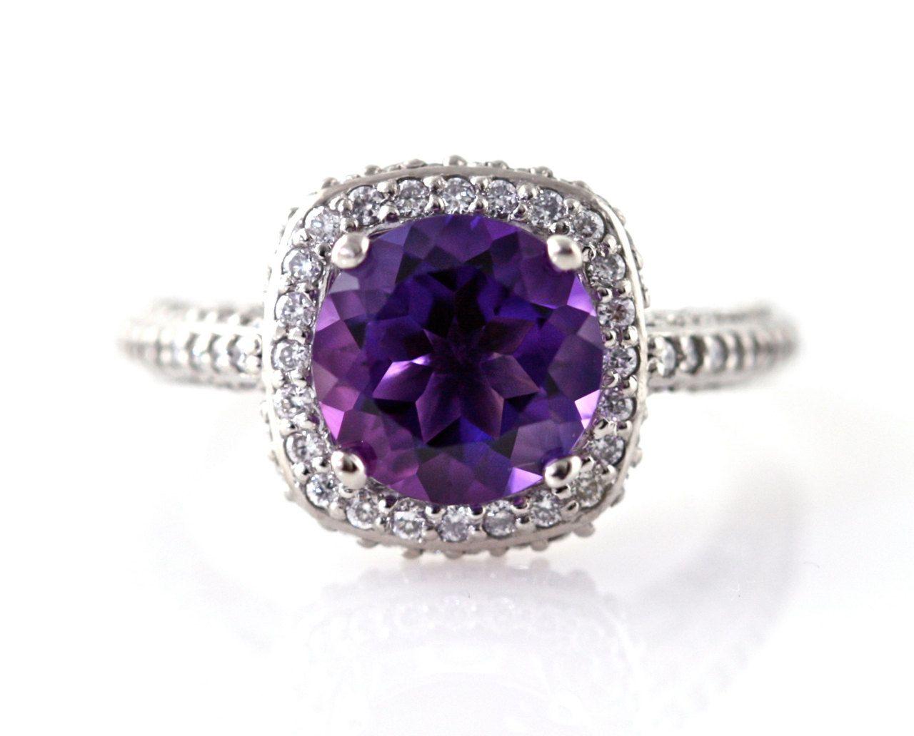 14K Amethyst Ring Diamond Halo Engagement Ring 14K 18K ...